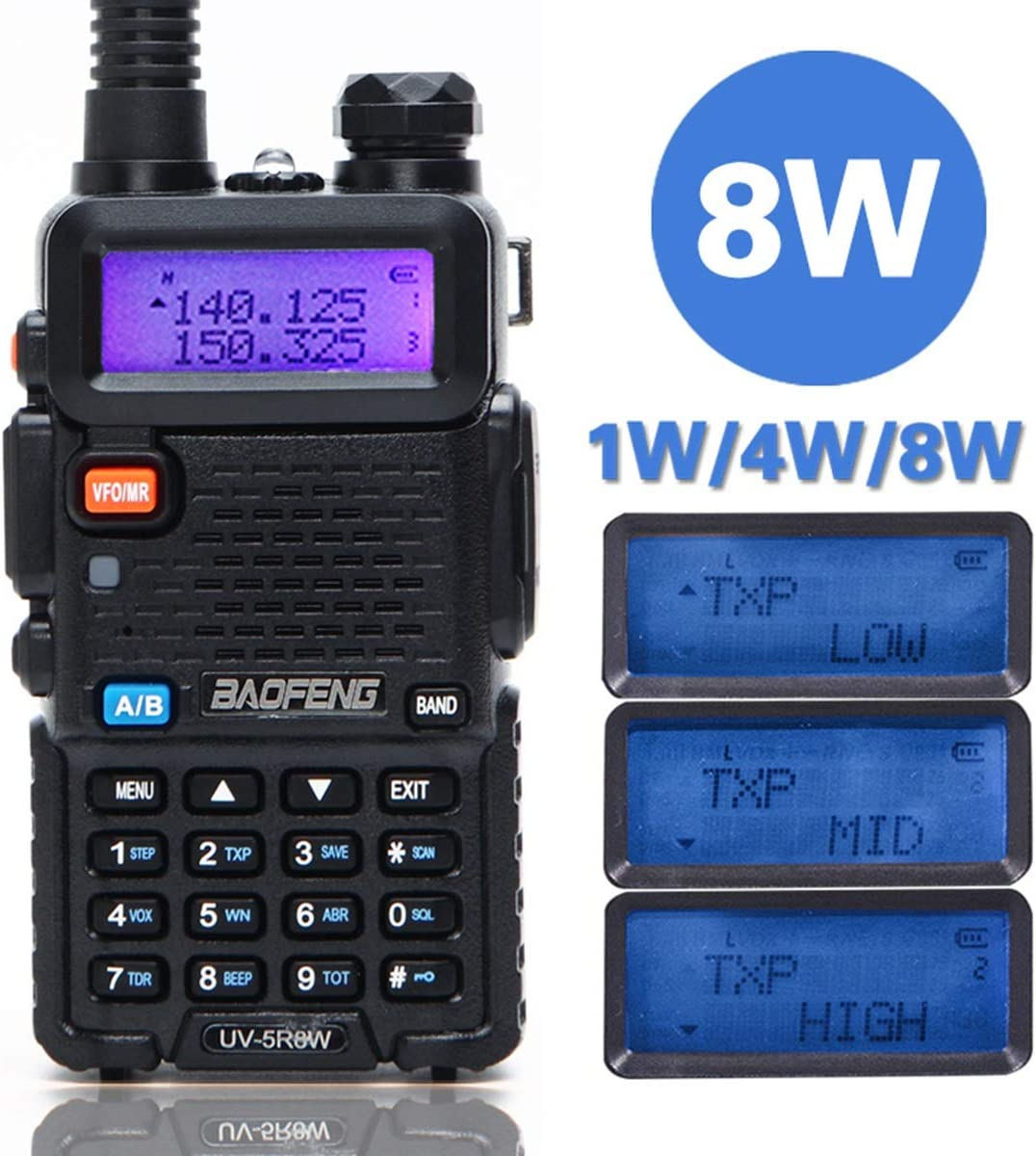 BaoFeng UV-5R 8 Watt High Power Dual Band Two Way Radio Tri-Power 8 4 1W 136-174 400-520MHz VHF UHF Portable Ham Radio