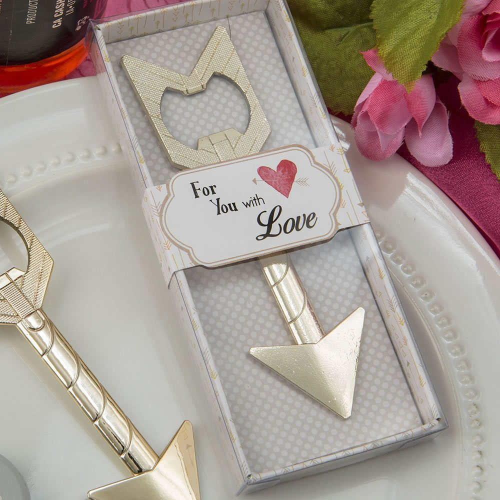 Cupid's Arrow Gold Metal Bottle Opener Wedding Favors, 96 by Fashion Crafts