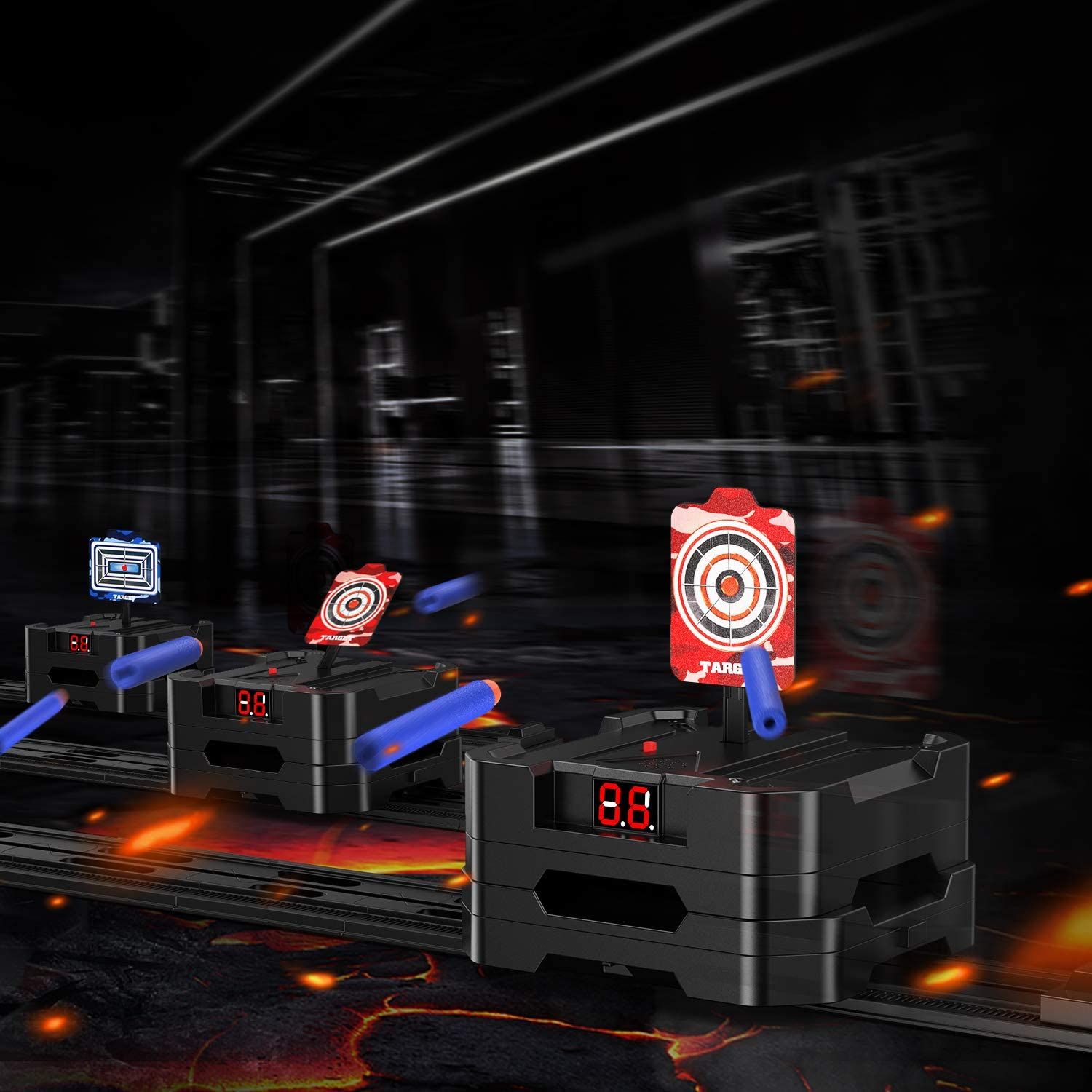 Teens MASCARRY Electric Scoring Target Running Auto Reset Shooting Digital Target for Nerf Guns Blaster Elite//Mega//Rival Series with 20 Pcs Refill Darts Ideal Gift Toys for Kids 2020 New Version