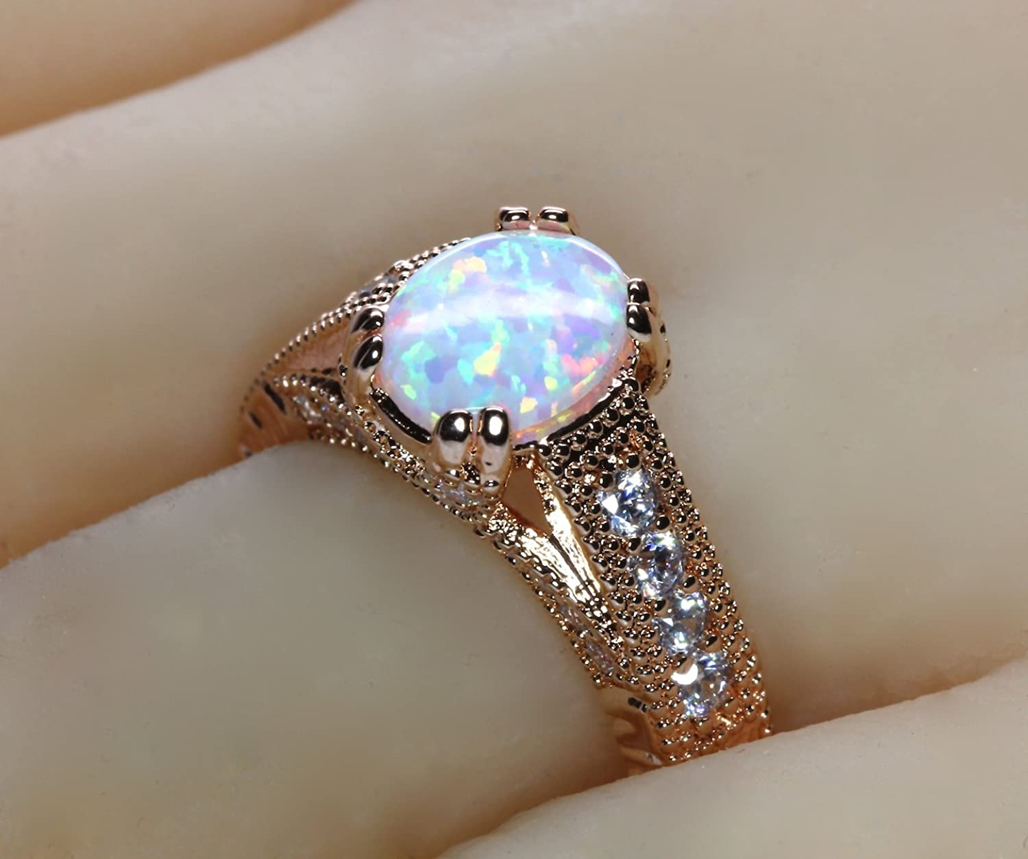 Oval White Fire Lab Created Opal Rose Gold Plated Antique Vintage
