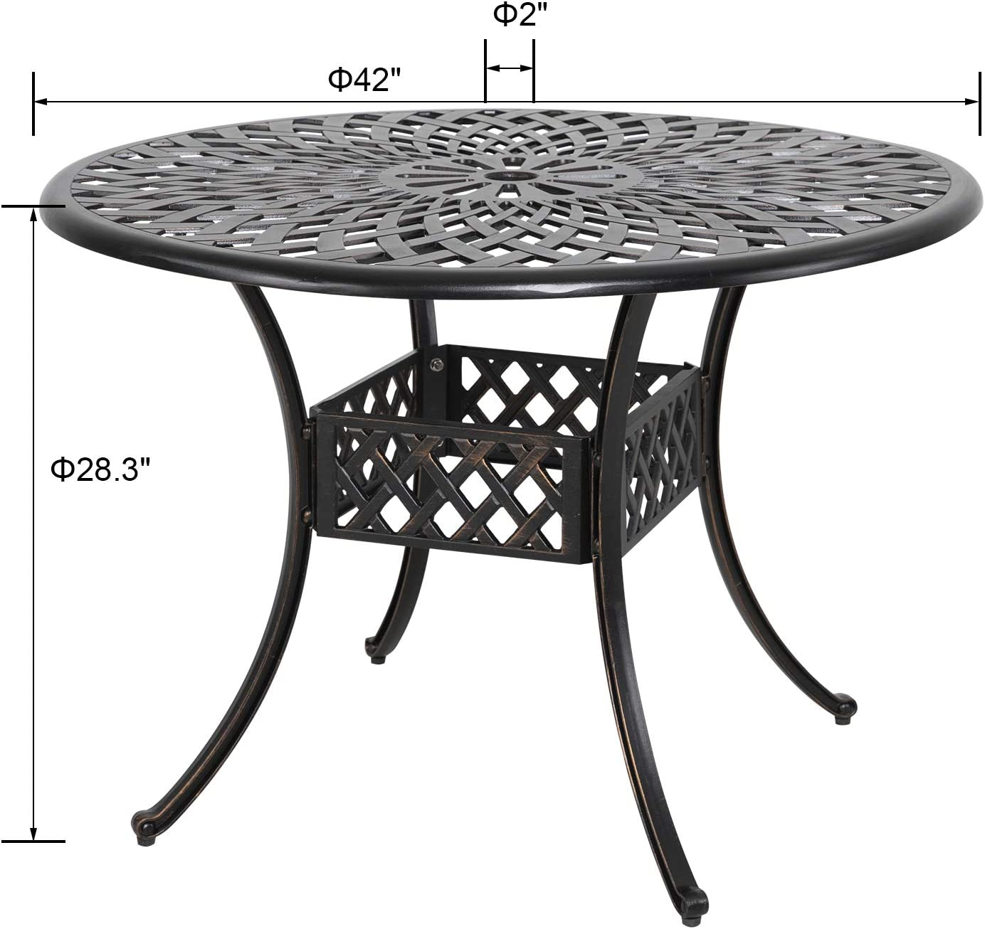 Amazon Com Nuu Garden 42 Inch Outdoor Round Patio Bistro Table Cast Aluminum Outdoor Dining Table With Umbrella Hole Antique Bronze Kitchen Dining