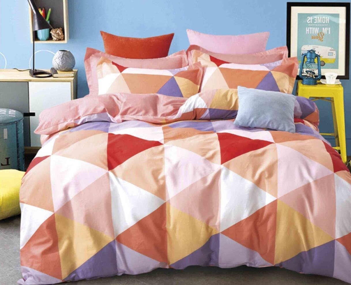 Minimal Style Geometric Shapes Duvet Quilt Cover Scandinavian Midcentury Modern Geo Print 100-percent Cotton Bedding Set Soft Casual Retro Mosaic Orange Blush Taupe Full Queen Size (Queen, Blush)