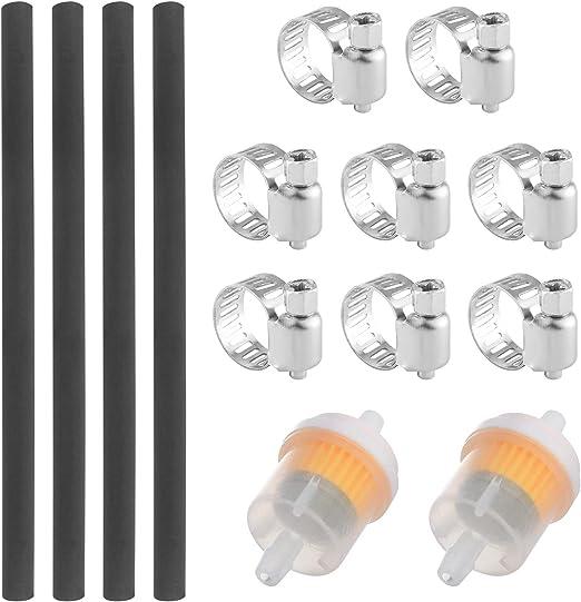 Wimas Universal Benzinschlauch Kit Motorrad Kraftstofffilter Schlauch Kit Inbegriffen 4pcs Durchmesser 6mm Kraftstoffleitung 2pcs 6 5mm Benzinfilter Und 8pcs Schlauchschellen Auto