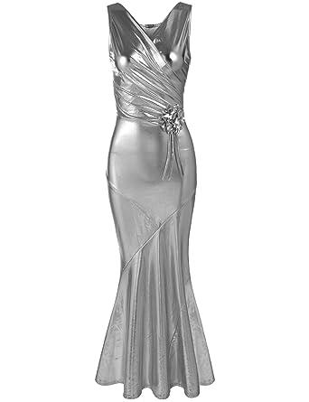 ANGVNS Womens Sparkle Sleeveless V Neck Boycon Maxi Long Evening Prom Dress