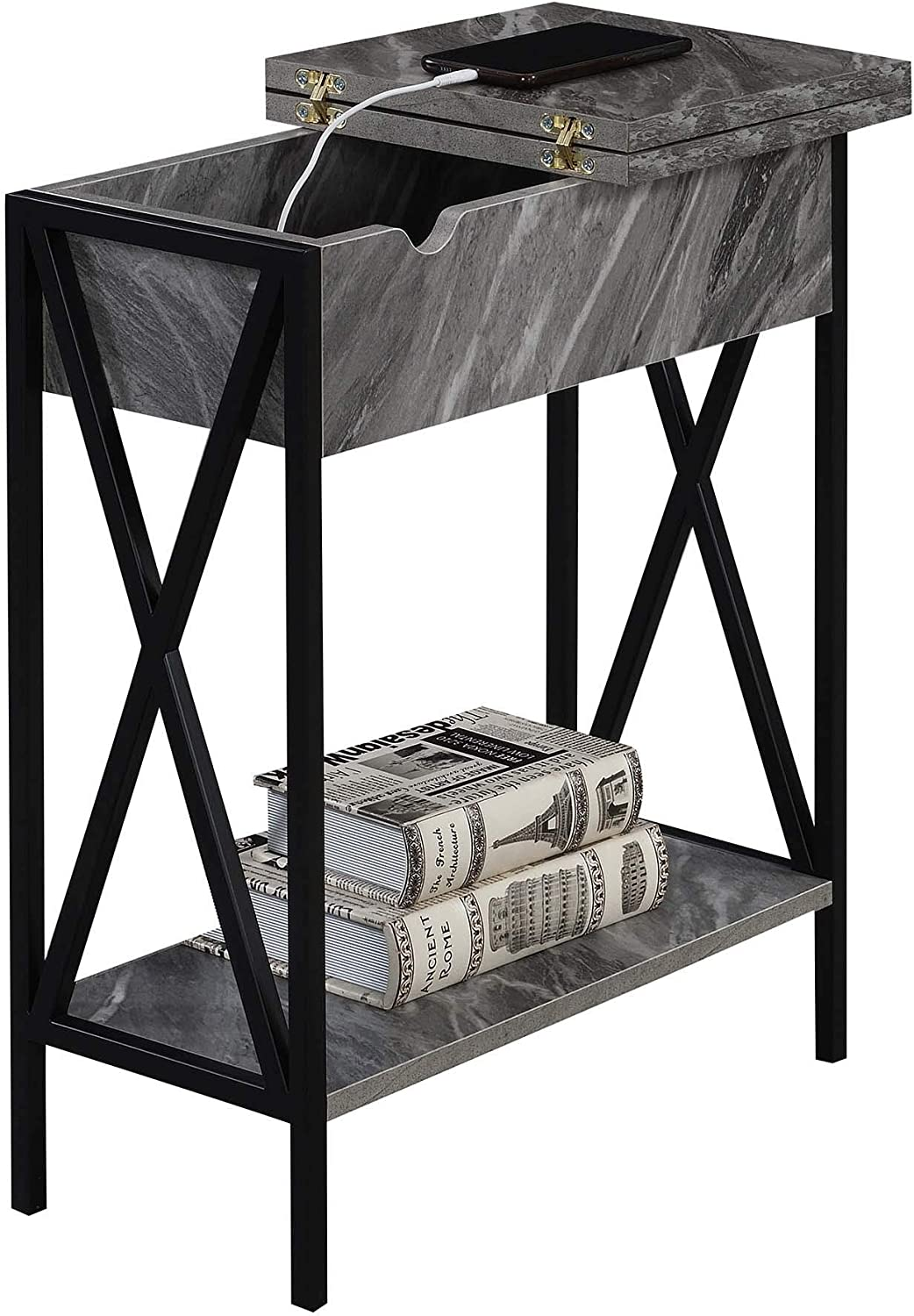 Convenience Concepts Tucson Flip Top End Table with Charging Station, Weathered Gray: Furniture & Decor