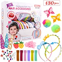 DIY Headbands for Girls - Fashion Headbands - Art & Craft Kit 10 Satin Headbands & 10 Hair Clips with Hair Accessories - Crafts Making Kits Gift for Girls Birthdays, Christmas