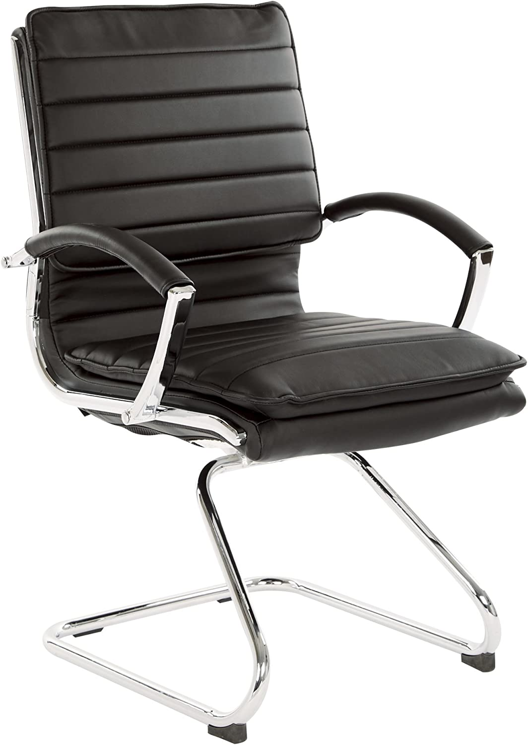 Office Star Faux Leather Guest Chair with Loop Arms and Chrome Sled Base, Black