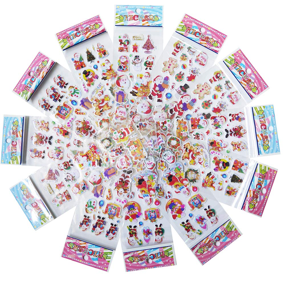 Adam Victor Merry Christmas Holiday Creative 3D Puffy Sticker Assortment 120 Stickers Best Gift for Kids Santa Snowman Reindeer Tree Ornaments Snow Flakes and More 12 Sheets