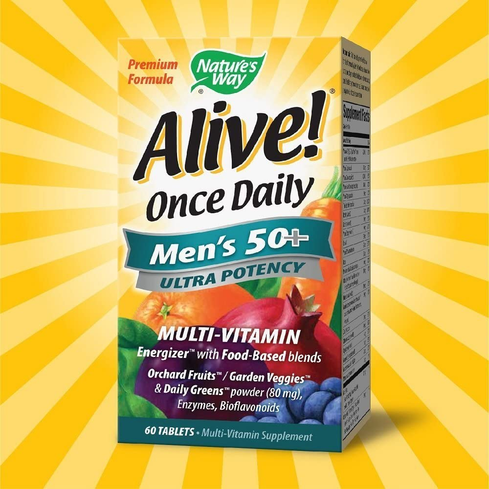 Nature s Way Alive Once Daily Men s 50 Multivitamin, Ultra Potency, Food-Based Blends, 60 Tablets, Pack of 2