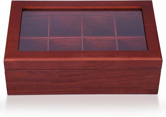 Apace Living Caja para Té - Lujoso Organizador de Madera para Guardar el Té - 8 Compartimentos Ajustables para Bolsitas de Té - Elegante y Hecha a Mano con Ventanilla Transparente Resistente: Amazon.es: Hogar