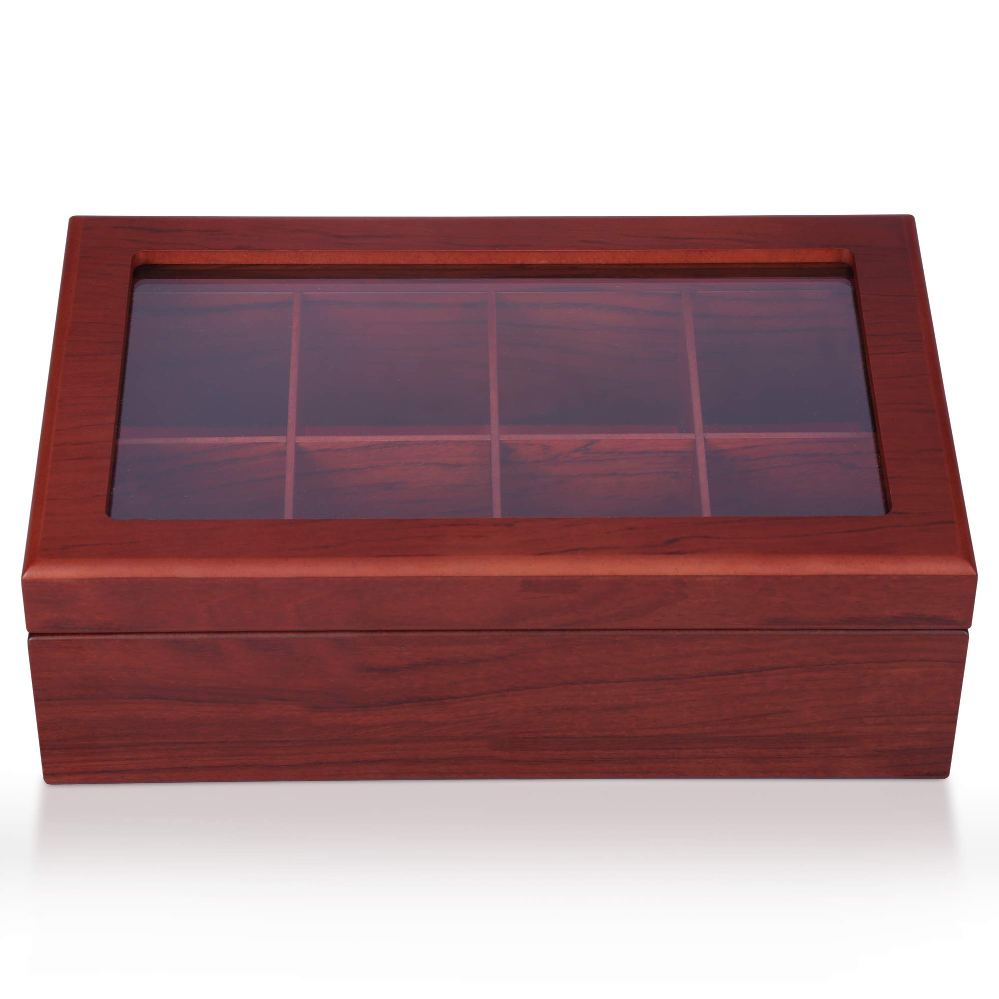 Apace Living Tea Box - Luxury Wooden Tea Storage Chest from The Premier Collection - 8 Adjustable Compartment Tea Bags Organizer Container - Elegantly Handmade w/Scratch Resistant Window by Apace Living