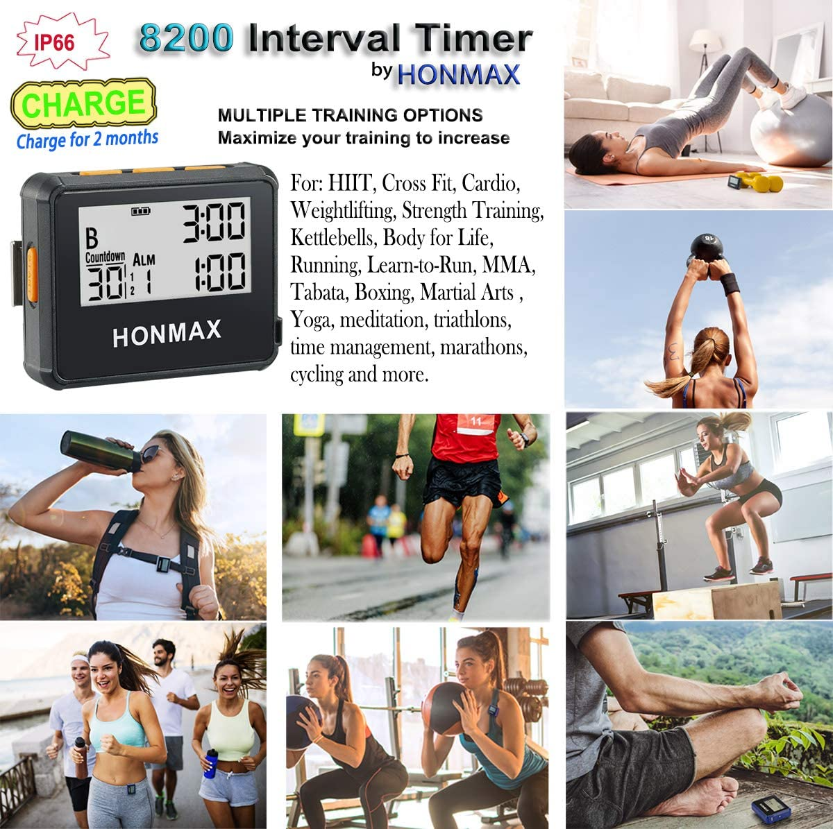 Honmax Charge IP66 Programmable Interval Timer & Stopwatch | Timers for Kitchen, HIIT, Running, Sports and Outdoor Exercise | Countdown up to 100 ...