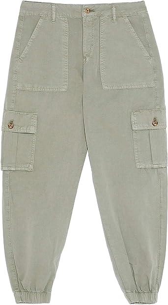 Zara 6147 067 506 Pantalones Cargo Para Mujer Verde 36 Eu Amazon Es Ropa Y Accesorios