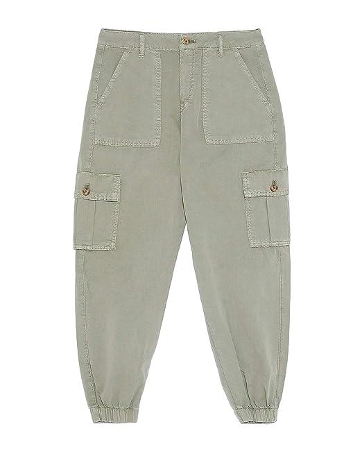Zara 6147067506 Pantaloni Cargo da Donna Verde 40 IT