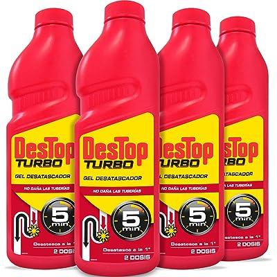 Destop Turbo - Desatascador para Tuberías Superconcentrado, formato gel - Pack de 4 Unidades, Hasta 8 Dosis