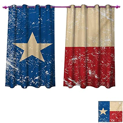 Chaneyhouse Texas Star Patterned Drape For Glass Door Grunge Flag Illustration With Lone Retro Independence