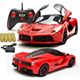 MousePotato 1:16 Remote Opening and Closing Doors Rechargeable Racing Car (Red)