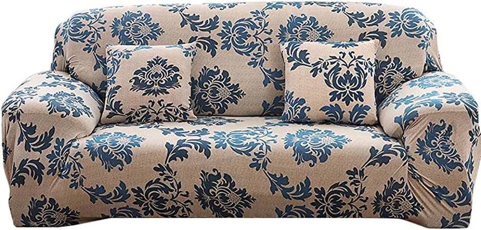 Amazon Com Elvoes Floral Printed Sofa Cover Anti Slip Elastic Slipcover Stretch Polyester Fabric Soft Furniture Protector Couch Cover Three Seater 74 90 Provence Home Kitchen