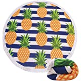 Genovega (21 Options) Thick Round Beach Towel Blanket - Microfiber Terry Beach Roundie Circle Yoga Mat With Fringe,High Color fastness,30-Days Money Guarantee Back