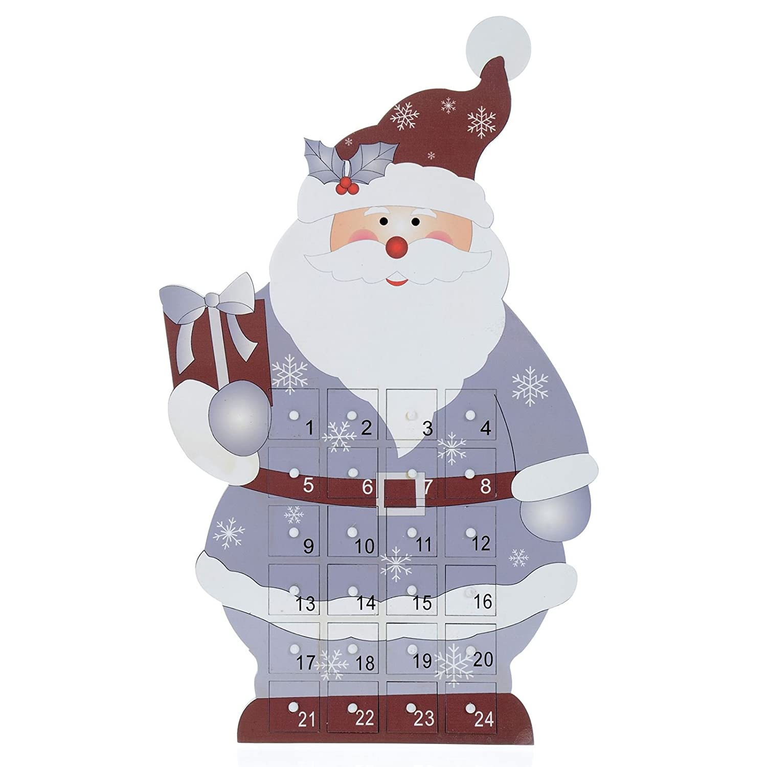 Mr Crimbo Standing Santa Christmas Wooden Advent Calendar 24 Removable Drawers Boxes Add Your Own Gift Sweet Treat Child XS-Stock.com Ltd
