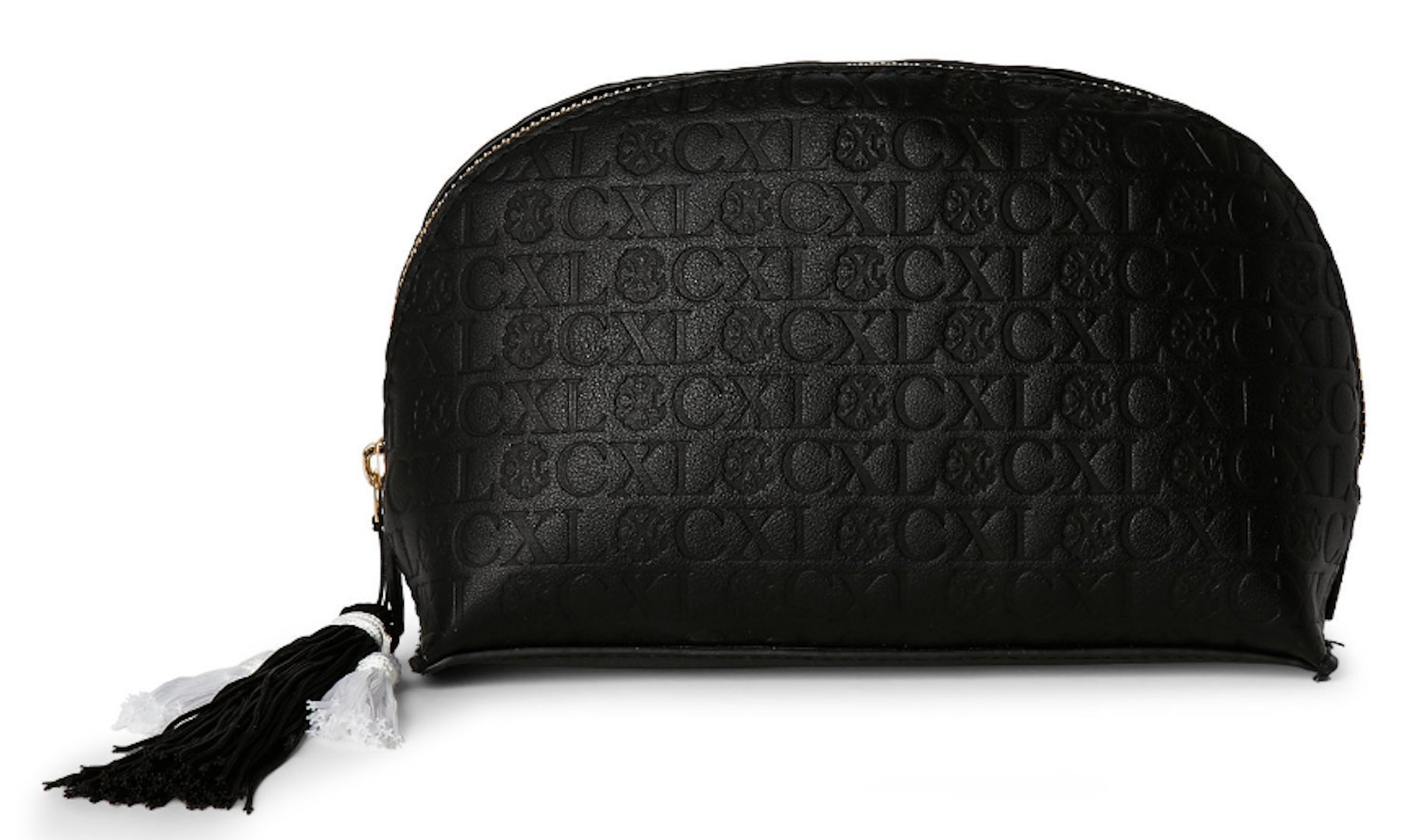 Christian Lacroix Black Embossed Dome Cosmetic Case by Christian Lacroix