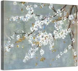 White Flowers Canvas Wall Art: Plum Blossom Painting Floral Picture Artwork for Living Room (24'' x 18'' x 1 Panel)