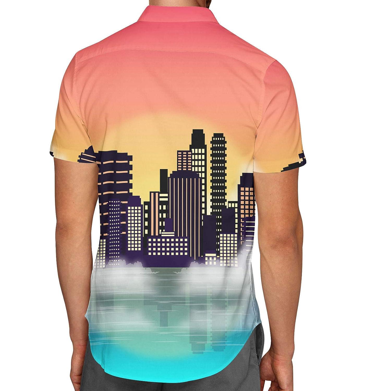City Sunset Mens Button Down Short Sleeve Shirt