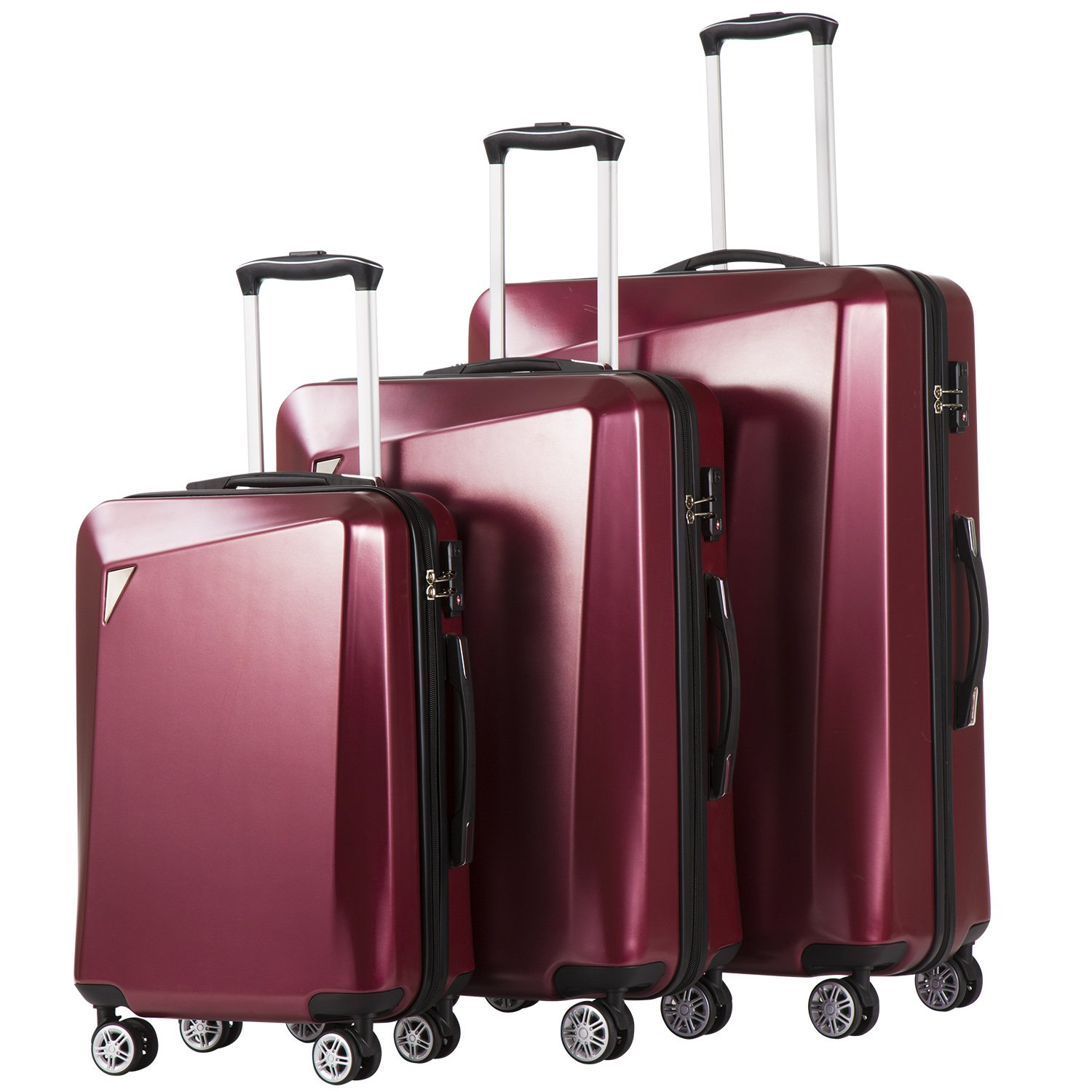 Coolife Luggage 3 Piece Sets PC+ABS Spinner Suitcase 20 inch 24 inch 28 inch (wine red2)