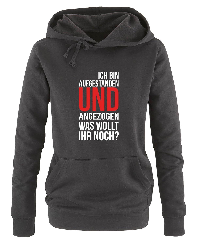 was wollt Ihr noch? K/ängurutasche Print-Pulli Ich bin aufgestanden und angezogen Langarm Damen Hoodie Comedy Shirts Kapuze