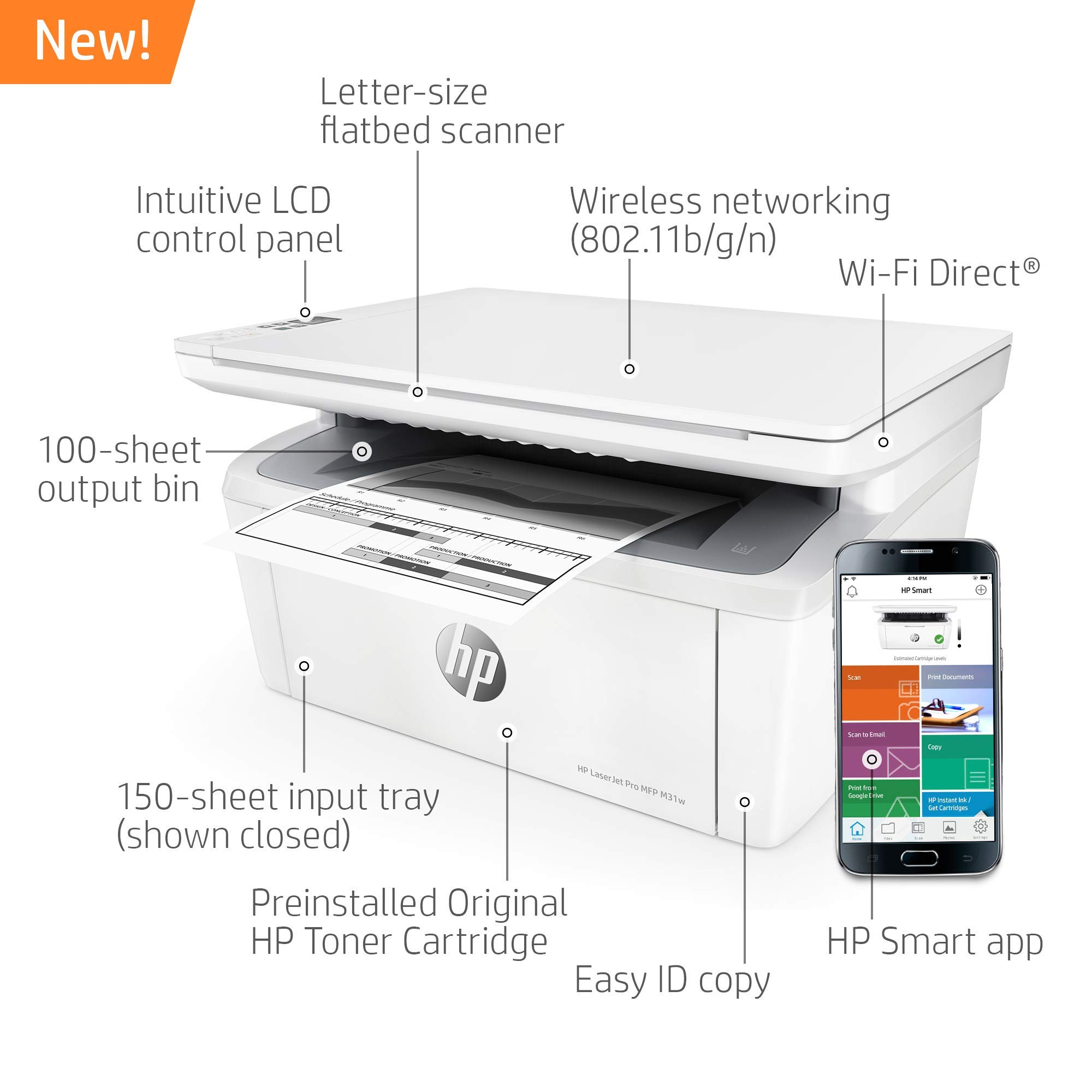 HP Laserjet Pro M31w All-in-One Wireless Monochrome Laser Printer with Mobile Printing (Y5S55A) (Renewed) by HP (Image #3)