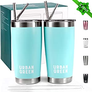 20oz Stainless Steel Tumblers with Lids by Urban Green,Vacuum Insulated Coffee Cup Mug, Double Wall Travel tumbler with Spill-Proof Lid, 2 Pack, 4 Straws, Pipe Brush & Gift Box (Teal Blue)