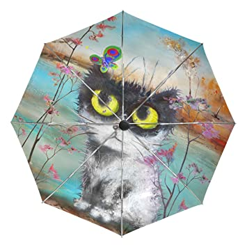 d19ff3d810b9 baihuishop Cat Butterfly in Autumn Scenery Windproof Rain Umbrellas ...