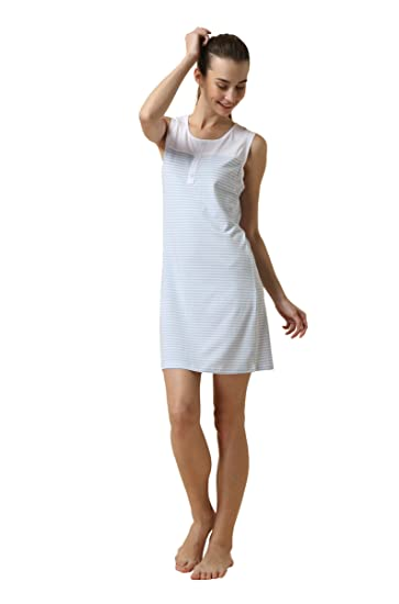7f867b0802 Suntasty Women s Nighties Cotton Chemise Striped Nightshirt Nightgown  Robes(White