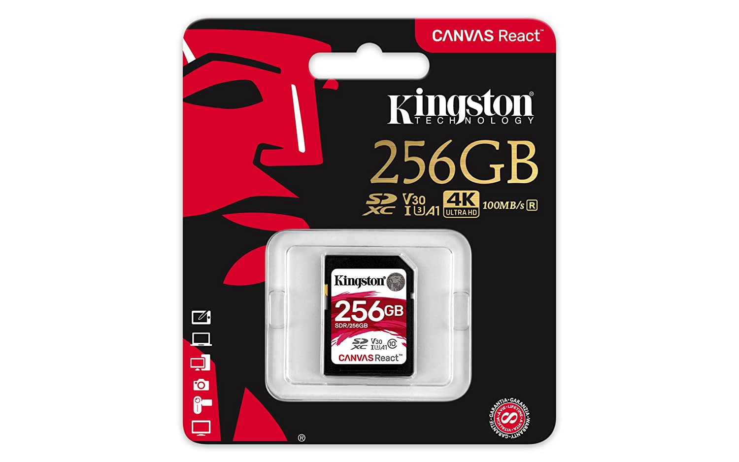 Kingston SDR/256GB Tarjeta Sd Canvas React de 256 Gb, 256 gb, Negro