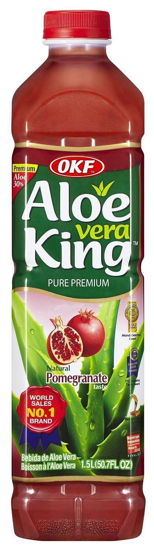 OKF Aloe Vera King Drink, Pomegranate, 1.5 Liter (Pack of 12)