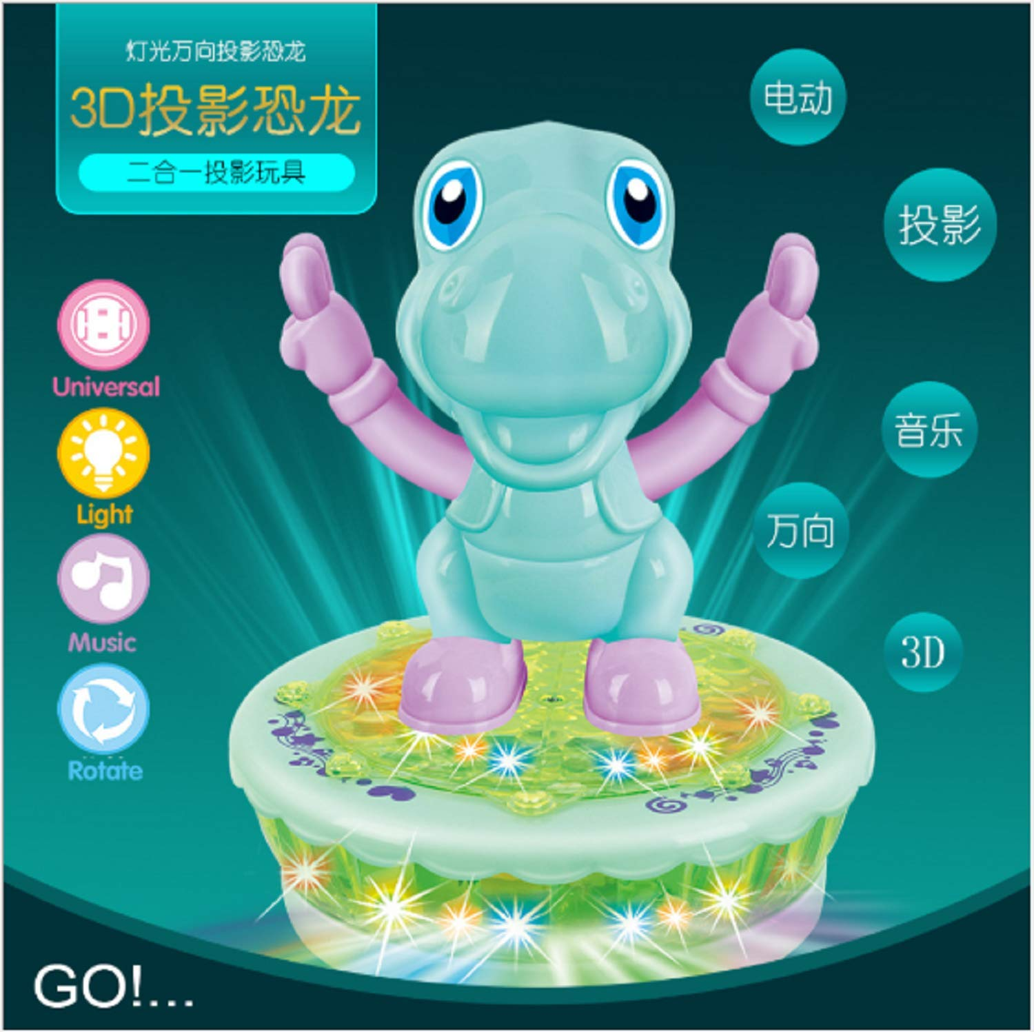 Cindere Electric Sound Light Projection Cartoon Rotating Toy Car with Light Music Universal Toy Car (Dinosaur-Green)