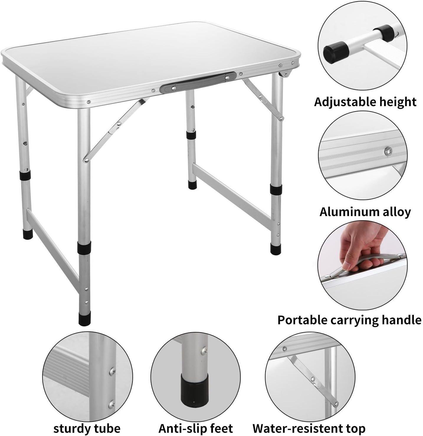 CHIGANT Mesa Plegable portátil Ajustable de Aluminio con asa de ...