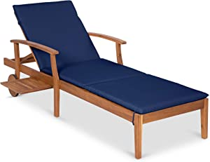 Best Choice Products 79x30-inch Acacia Wood Chaise Lounge Chair Recliner, Outdoor Furniture for Patio, Poolside w/Slide-Out Side Table, Foam-Padded Cushion, Adjustable Backrest, Wheels - Navy Blue