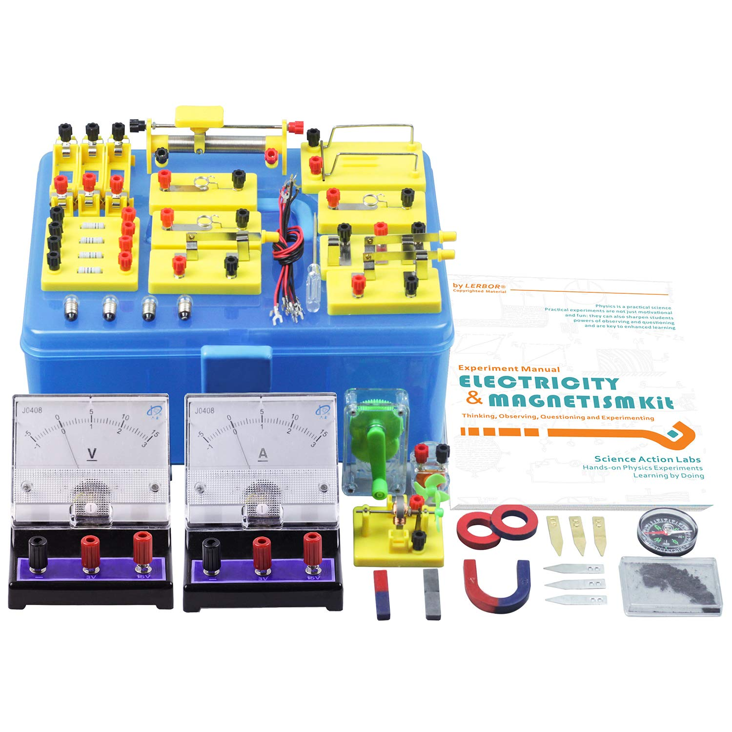 Lerbor Stem Physics Science Lab Basic Circuit Learning Kit Electronic I Manual Electricity And Magnetism Experiment Introduction For Kids Junior Senior High School Students