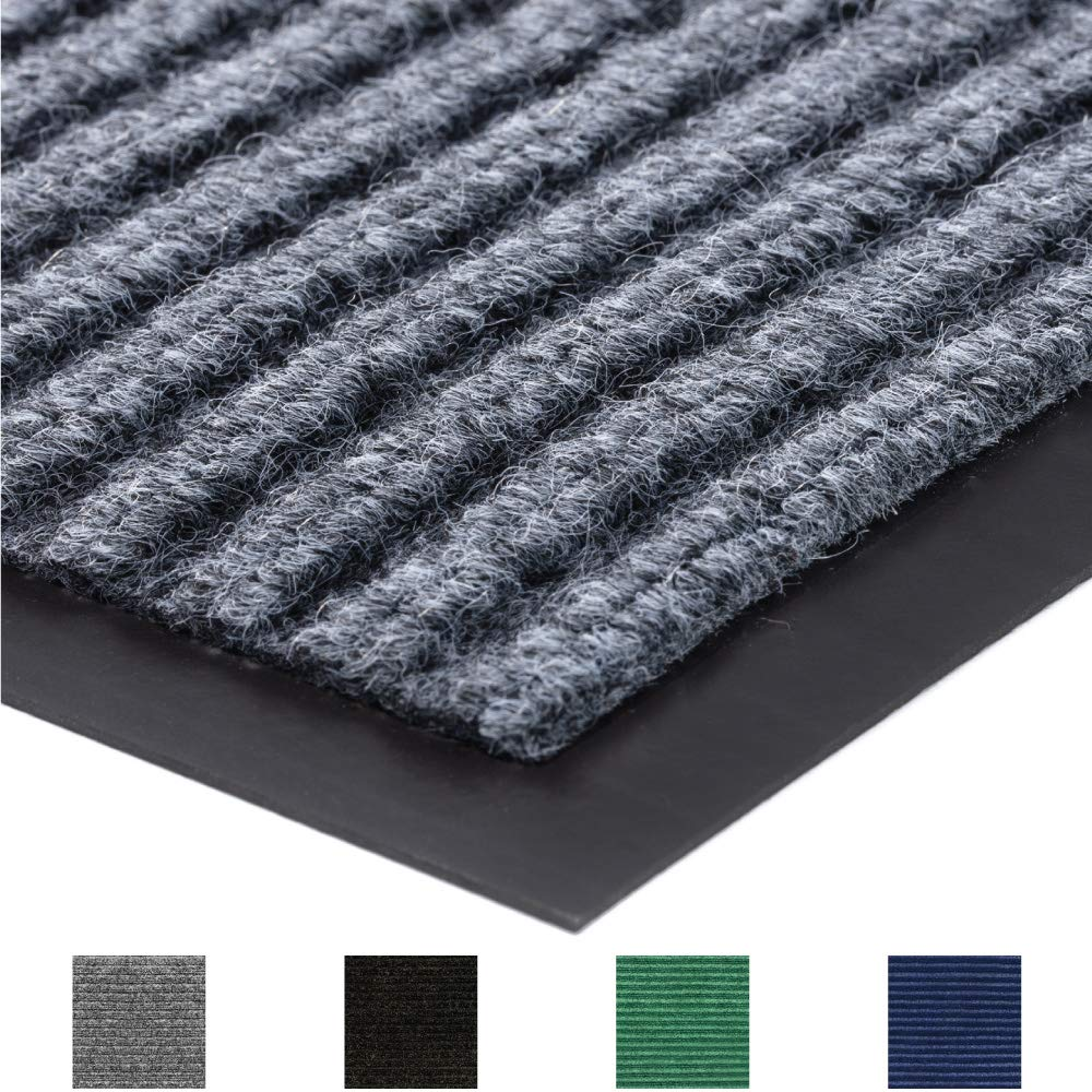 Gorilla Grip Original Commercial Grade Rubber Floor Mat, 35x23, Heavy Duty, Durable Doormat for Indoor and Outdoor, Waterproof, Easy Clean, Low-Profile Mats for Entry, Patio, High Traffic, Gray