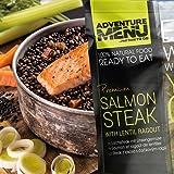 Adventure Menu Salmon steak with lentil ragout