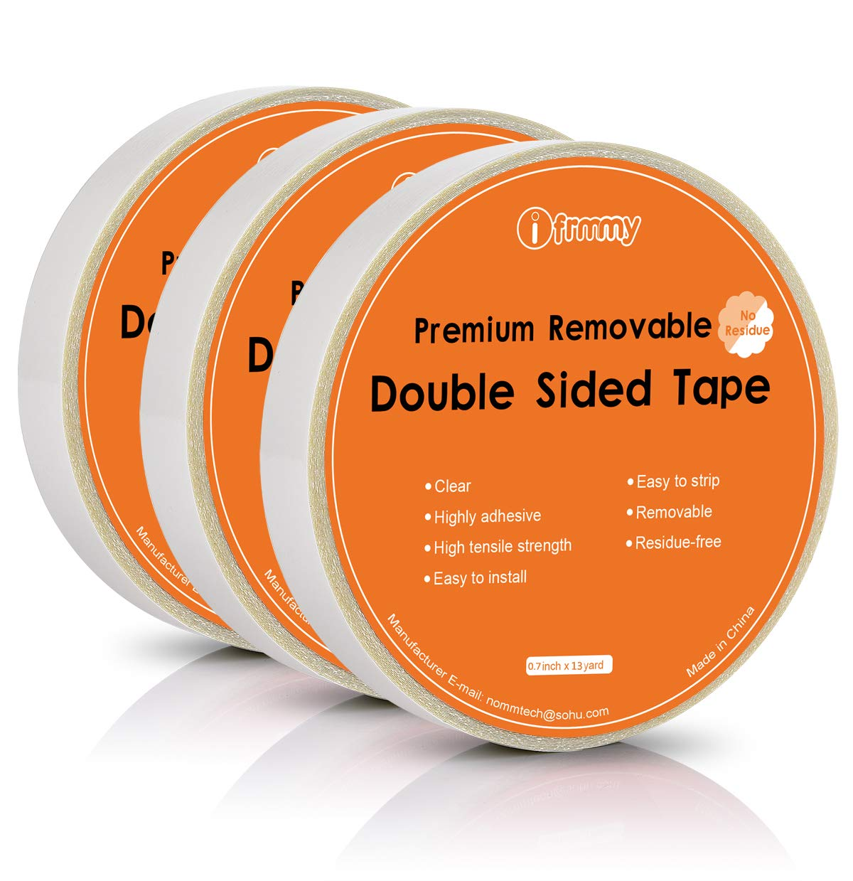 Amazon com ifrmmy removable clear double sided sticky tape no residue 0 7 inches x 13 yards 3 rolls office products