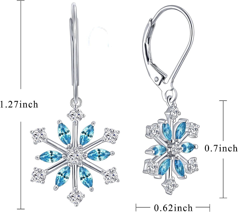 JO WISDOM 925 Sterling Silver White/Blue CZ Snowflake Leverback Earrings Drop & Dangle Earrings(Pink)