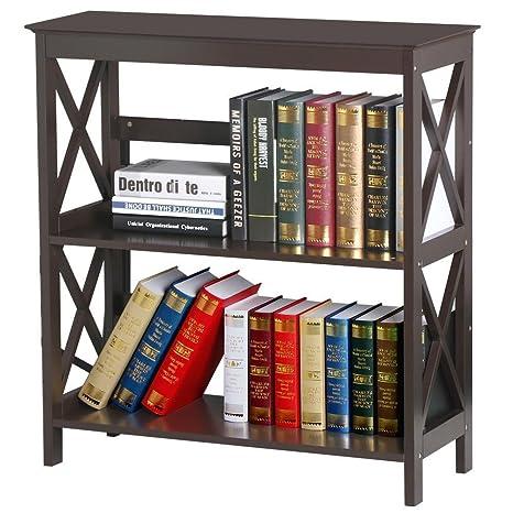 Topeakmart 3 Tier Espresso Finish Wood Bookcase Bookshelf Display Rack Stand Storage Shelving Unit