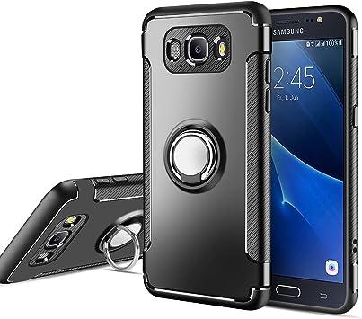 MaiJin Funda para Samsung Galaxy J5 2016 SM-J510F (5,2 Pulgadas) Multifunción Anillo sostenedor movil de 360 Grados con función de Soporte Rugged Armor Cover Case (Negro): Amazon.es: Electrónica
