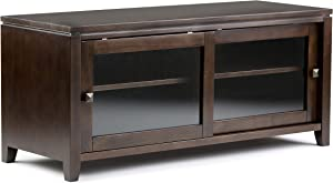 """SIMPLIHOME Cosmopolitan SOLID WOOD Universal TV Media Stand, 48 inch Wide, Contemporary,Entertainment Center, Storage Cabinet, Glass Doors, for Flat Screen TVs up to 55"""", Mahogany Brown"""