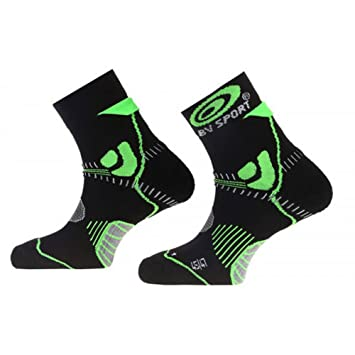 BV Sport Trail Evolution - Calcetines de running para hombre, color negro y verde: Amazon.es: Deportes y aire libre