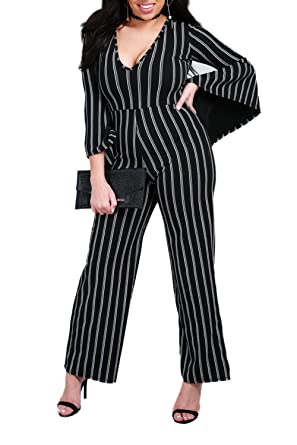 Womens Ladies V Neck Wide Legs Pants Bell Long Sleeve Striped Palazzo Jumpsuit