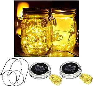 Upgraded Solar Mason jar lids Lights 2 Pack 30 LED Outdoor Fairy Lights Mason Jars for Christmas Wedding Party Table Terrace Garden Decoration (Including Hangers No Jars)