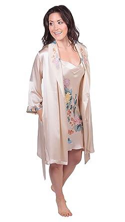 921c23534e26a3 TexereSilk Women s Silk Chemise   Robe Set - Luxury Pajamas (Spring  Bouquet